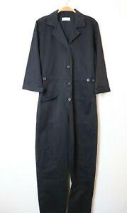 VELVET By Graham Spencer Koren Cotton Button Up Utility Jumpsuit Black $257 B27
