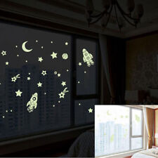 Art Decal Space Stars Planet Rocket Kids Baby Room Glow In Dark Wall Stickers