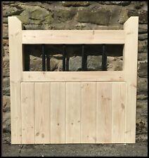 garden gate handmade wooden cottage flat top pedestrian gate metal spindle