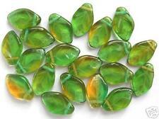 20 vert foncé / topaz feuilles Perles 12x7mm (T045)