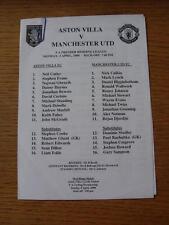 03/04/2000 Aston Villa Reserves v Manchester United Reserves  (Single Sheet)