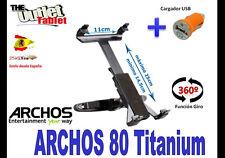 SOPORTE REPOSACABEZAS PARA Tablet ARCHOS 80 TITANIUM GIRATORIA + CARGADOR USB