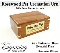 PET CREMATION URN ROSEWOOD URN WITH BRASS CORNER ACCENTS ROSEWOOD80-FRONT1