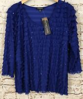 Notations shirt top womens 1X new ruffle tier layer sparkle 3/4 slv shimmer F4