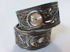 Vintage Silver & Gold Tone Cuff Watch & Matching Bangle Bracelet - Spring Close