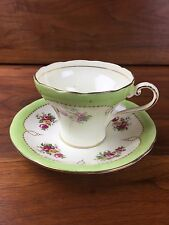 Antique Vintage Aynsley Tea Cup Teacup And Saucer Set Art Deco Green Corset