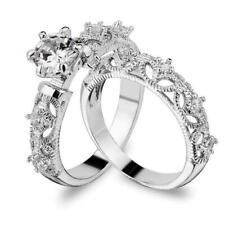 2pcs/set 925 Silver Cut White Sapphire Promise Ring Women Wedding Jewelry #6-10