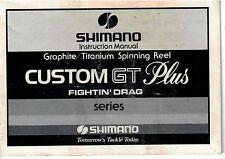 1984 Shimano handbook Custom GT Plus Spinning Reel