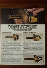 Mcculloch chainsaw advertising brochure 100, 300 and 500 series chainsaws nos