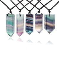 Chakra Heilstein Anhänger Halskette Natürlicher Fluorit-Stab Kristall Quarz