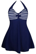 new navy white striped one piece swim dress swimwear