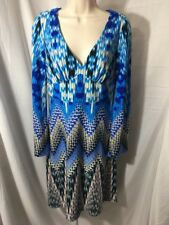 #385--Muse Womens Size 4  blue multi color knit stretch dress.