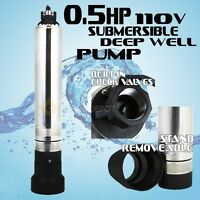 "4"" Stainless 1/2HP Submersible Pump Deep Well Bore Sump 26 GPM 110V 150FT Max HD"