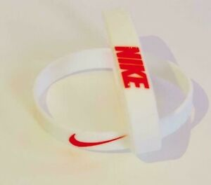 Nike Baller Band Silicone Rubber Bracelet White Red AF1 RETRO 5 BEST RATED