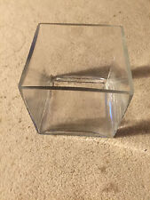 """Clear Glass Cube Vase 5 7/8"""" Square"""