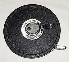 Vintage Keson 100' Fiberglass Reel Measuring Tape in Black Metal Housing Japan