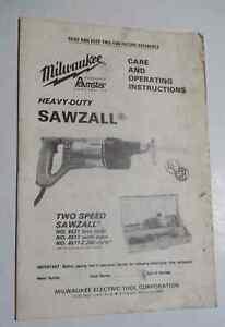 Milwaukee Cat. No.6531, 6511 Sawzall Operators Manual