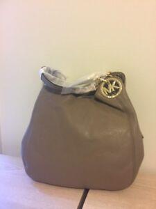 N W Tag Michael Kors Fulton Venus Leather L Shoulder Tote Shoppers Bag dark dune