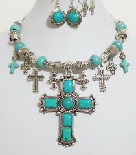 Turquoise Cross Pendant Charm Necklace Bracelet 3 X Earrings One of a Kind