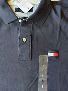 Tommy Hilfiger Men's Short Sleeve Polo  Shirt, Blue, Large,Embroidered Logo