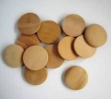 10 plain natural unfinished wood wooden domed coin disc buttons - 10x50mm