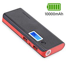 Powerbank 10000mAh Externe Battery Ladegerät Zusatz Tragbare Akku 2x USB Schwarz