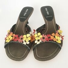 mui mui shoes slides with flower appliques, size 5.5