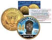 HANK AARON Braves Baseball Legends JFK Half Dollar 24K Gold Plated US Coin