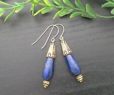 Gold Filled Hooks & Blue Lapis Lazuli Gemstone Teardrop Dangle Earrings
