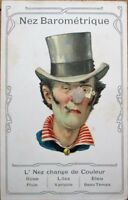 Novelty/Mechanical 1906 Postcard: Diecut Man w/Fuzzy Nose Barometer, Color Litho