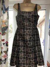 Karen Millen Dress Sz 1 Black Gold