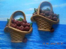 2 Vtg 1985 Homco Rasberry/Berry Baskets Plaques - Burwood Co
