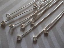Silver Plated Heart Head Pins - 24 gauge - 51mm - 2 inch Head Pins - Qty 10