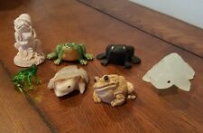 Nice Collection of Assorted Frogs Figurines Coal Glass Ceramic