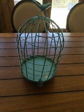 Vintage Dome Shape Metal Bird Cage Decorative Shabby Chic Turquoise