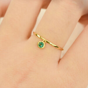 18K Gold Dangle Ring with Natural Colombian Emerald