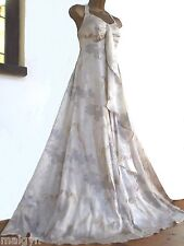 MONSOON ✩ STUNNING KIKA IVORY GOLD SILK CHIFFON MAXI BRIDAL DRESS ✩ UK 12 ✩ BNWT