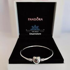 New Genuine Pandora Sterling Silver Moments Heart Bangle RRP£55 #596268