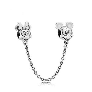 Minnie & Mickey Mouse Disney Safety Chain European Charm & Gift Pouch - S925