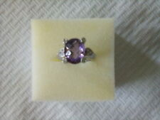 JUDITH RIPKA Sterling Silver AMETHYST RING w/ Diamonique Accents Size 7