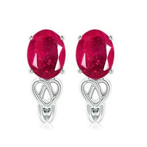 2.20Ct Natural Burmese Red Ruby Oval Cut Solitaire Studs In Real 14KT White Gold