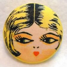 "1920s Flapper Girl Button Hand Printed Fabric "" Sunny """