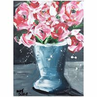 Matt Scalf Floral Flowers ORIGINAL PAINTING Vase Abstract Expressionism 9x12