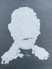 Gray White Minimal Abstract Contemporary Portrait Laughing Man Painting Art