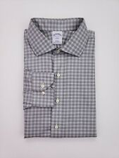Brooks Brothers Slim Fit Shirt 17 32/33 Gray Checked Non Iron Mens Size 346 2015