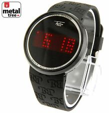 Touch Screen Digital Fashion Watches Techno Pave LED Black Silicone Band 7287 BK