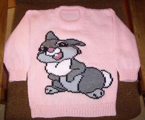 RABBIT BUNNY   ..NEW SIZE 6 HAND KNITTED 100% ACRYLIC EASY CARE PINK