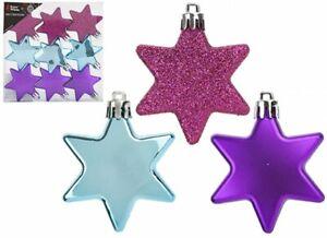 CHRISTMAS TREE DECORATIONS SET OF 9 6CM STARS BLUE PURPLE PINK GLITTER 3 OF EACH