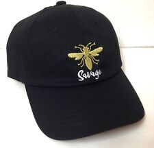 New Womens SAVAGE DRAGONFLY HAT Black Shiny Gold Unstructured Low Profile Ladies