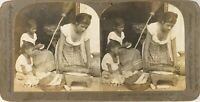 EL SALVADOR Fabrication de Tortillas, Photo Stereo Vintage Argentique PL62L12